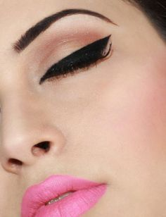 Straight Eye Liner instead of winged...love the pink lip too