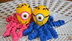 minion crochet patterns Crochet Octopus: Models That Soothe Premature Babies Crochet Fish, Crochet Octopus, Cute Crochet, Crochet Animals, Crochet For Kids, Crochet Hats, Octopus Colors, Minion Crochet Patterns, Bunny Blanket
