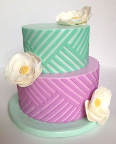 Purple and Green Pastel Cake with Off-White Flowers