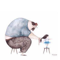 Artista cria ilustrações em aquarela retratando laço amoroso entre pai e sua…