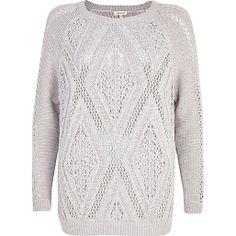 Grey geometric stitch slouchy jumper