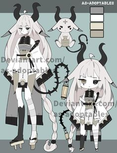 Demon Spirit adoptable closed by AS-Adoptables on DeviantArt Cute Anime Character, Cute Characters, Character Art, Arte Do Kawaii, Kawaii Art, Cute Art Styles, Cartoon Art Styles, Fantasy Character Design, Character Design Inspiration
