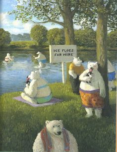 Michael Sowa. Social comment, humour and landscape art. Great combination!🌸🦋Michael Sowa (born 1945) is a German artist known mainly for his paintings, which are variously whimsical, surreal, or stunning.🌸🦋🌻More Pins Like This At FOSTERGINGER @ Pinterest 🦋🌸🦋🌻 Niedliche Illustration, Naive Art, Illustrations Posters, Michael Sowa, Bear Art, Magritte, Whimsical Art, Masters, Children's Book Illustration