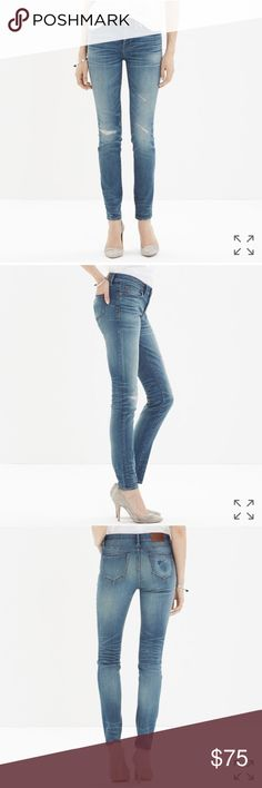 """Madewell skinny skinny jeans rip&repair edition EC These lean, sexy jeans start out pristine before being artfully distressed to create a well-loved vibe. experts hand-finish each pair, tearing and repairing them just so.Each unique pair looks and feels like you've had—and loved forever. special denim that has tons of stretch, never bags out does life-altering things to the rearview. Sits at hip  Fitted through hip and thigh, with a slim leg. Front rise: 8"""". Inseam: 29"""" 92% cotton/6% poly/2%…"""
