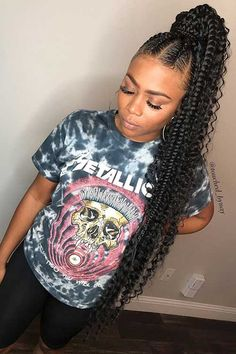 85 Box Braids Hairstyles for Black Women - Hairstyles Trends Goddess Braid Ponytail, Feed In Braids Ponytail, Feed In Braids Hairstyles, Black Girl Braided Hairstyles, Weave Ponytail, Braided Ponytail Hairstyles, Baddie Hairstyles, My Hairstyle, Black Women Hairstyles