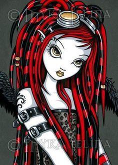 Red-Tattoo-Cyber-Goth-Angel-Fairy-OOAK-ACEO-Crimson-CU