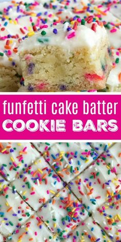 Funfetti cake batter cookie bars are a sweet and tasty treat that only need 5 ingredients! So easy to make, loaded with colorful sprinkles, and tastes exactly like cake batter. These will be a hit with everyone. Funfetti Kuchen, Funfetti Cookies, Funfetti Cake Bars Recipe, Mini Desserts, Easy Desserts, Oreo Desserts, Plated Desserts, Easy Dessert Bars, Cookie Bars