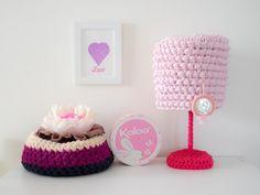 Crochet lampshade Handmade lampshade Soft pink lampshade by arceb