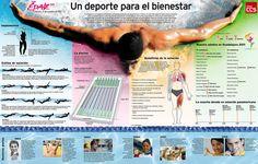 ... una infografía sobre la natación vista como un deporte de bienestar