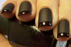 I like girls with black nail polish and I like girls with french manicures. This is a black french manicure. Go get this now and become twice as sexy! Matte Black Nails, Matte Nail Polish, Nail Polish Trends, Black Polish, Black Manicure, Dark Nails, Nail Trends, Acrylic Nails, Nail Black