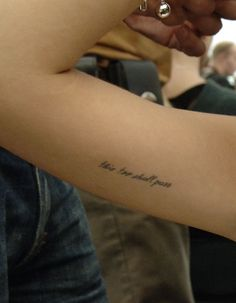 """Freja Beha Erichsen's """"this too shall pass"""" on the inside of her upper right arm #tattoo #ink"""