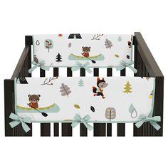 Sweet Jojo Designs Outdoor Adventure Side Crib Rail Guard Covers (Set of 2) - Aqua