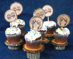 Check out this item in my Etsy shop https://www.etsy.com/listing/243285538/rustic-cup-caketoppers-baby-feethands