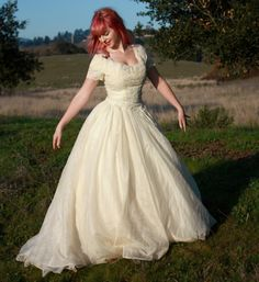 Vintage Wedding Dress in Silk Organza with Dropped Waist Scalloped Bodice and Layered Shelf Bust Alencon Lace Appliques Short Sleeve 50s Wedding, Modest Wedding Gowns, Wedding Bridesmaid Dresses, Dream Wedding, Wedding Ideas, Wedding Stuff, Vintage Dresses For Sale, Bridal Looks, Dream Dress