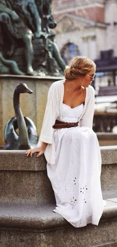 Shining white eyelet maxi dress