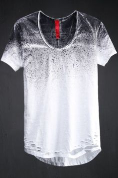 Best Men's Punk & Avant Garde Fashion Custom Spray Paint Loose Neck Line T-shirt by Virgin Blak