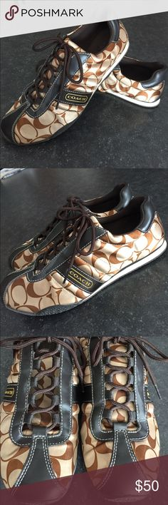 Coach Sneakers w/Brown Leather Gorgeous Coach leather sneakers. In excellent condition! Fits a size 8 or 8 1/2. Coach Shoes