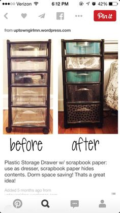 Ned to do this to my fabric storage drawers Plastic Storage Drawer w/ scrapbook paper: use as dresser, scrapbook paper hides contents. Thats a great idea!