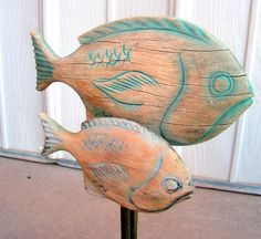 Vintage Carved Wooden Fish Folk Art Wood Carving by retrosideshow, $150.00