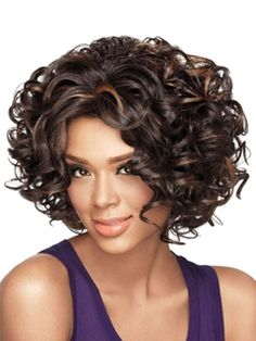 Deep Brown Wigs African American Women's Short Curly Tousled Synthetic Afro Hair Wigs