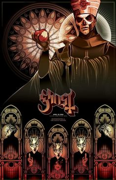Ghost Artwork by Alexis Moore Rock Y Metal, Nu Metal, Black Metal, Band Ghost, Ghost Bc, Tour Posters, Band Posters, Rock Roll, Metal Viking