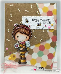 Swiss Pixie Bee Heidi, Happy Sentiments Meoples Bee-cause, Squares #1 die, Scalloped Rectangles die