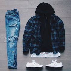 """or : by : : : """"Triple White"""" for on-feet photos for outfit lay down photos Hit link in bio to purchase Swag Outfits Men, Stylish Mens Outfits, Cool Outfits, Men's Outfits, Tomboy Fashion, Streetwear Fashion, Fashion Outfits, Fashion For Men, Adidas Fashion"""