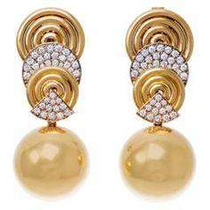 1980s Demner Diamond Gold Modernist Day and Night Pendant Earrings