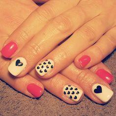 Nails pink white black heart love