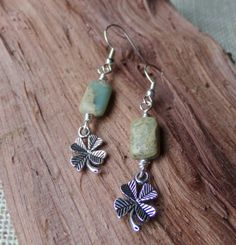 Jasper Earrings With Good Luck Four Leaf Clover by McHughCreations, $8.95