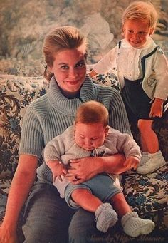 Elizabeth Montgomery and her two sons, William Asher, Jr., Robert Asher - she had one daughter after this photo.