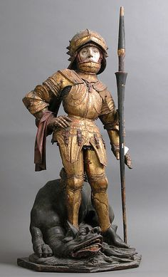 Saint George and the Dragon Date: 15th century Culture: South German Medium: Linden wood, polychromy, gilding