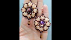 Tutorial orecchini fiorellino:perle 6mm ,rivoli 14mm, roc11/0, roc 8/0, ...