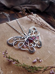Butterfly sterling silver necklace - Red garnet pendant - wire wrapped pendant - luxury classic jewelry Romantic gift for her Wire Necklace, Wire Wrapped Necklace, Wire Wrapped Pendant, Sterling Silver Necklaces, Copper Jewelry, Wire Jewelry, Pendant Jewelry, Jewelry Crafts, Teen Jewelry