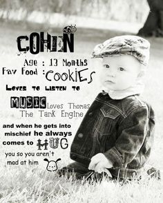 I want to do this for my babies. Take a picture and make a list of random things about your child at that age.