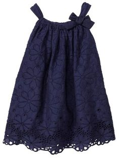 Baby Gap Color Rainforest Eyelet Bow Dress in Fall Navy. Want to make dresses like this for my nieces. Little Girl Fashion, Kids Fashion, Little Girl Dresses, Girls Dresses, Baby Dresses, Summer Dresses, Toddler Outfits, Kids Outfits, Dress Anak