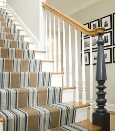 Excellent Striped-Stair-Runner For Staircase: Striped Stair Runner At Traditional Staircase With The Blue Element Giving A Chic Seaside Feel ~ aureasf.com Furniture Inspiration