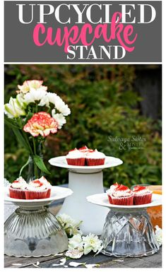 Turning glass shades into thrifted upcycled cupcake stands is an easy craft and perfect for entertaining, weddings, showers. Diy Home Crafts, Easy Crafts, Diy Home Decor, Easy Diy, Upcycle Home, Recycled Decor, Repurposed, Diy Cupcake Stand, Diy Craft Projects