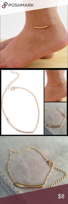 """Tube Anklet Pretty gold toned anklet with tube design. Can clasp anywhere from 9-11"""". New in package. Jewelry"""