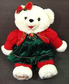 "21"" White SNOWFLAKE TEDDY BEAR Red Green Christmas Plush TB Trading 2001 Shlf"