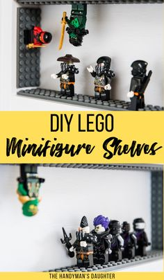 Toy storage doesn't have to be boring! Turn these DIY Lego Minifigure Shelves into an interactive display! Adhesive Lego tape allows kids to use all sides of the shelves for a whole new element of play! Minifigura Lego, Diy Lego, Lego Craft, Legos, Lego Minifigure Display, Lego Display, Display Case, Lego Shelves, Lego Storage