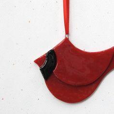 080 Cardinal ornament bird red Christmas by nivenglassoriginals