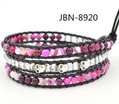 The latest handmade bracelet  pink stone  beads and skull waving bracelets bangles charm fashion jewelry JBN-8920  for women