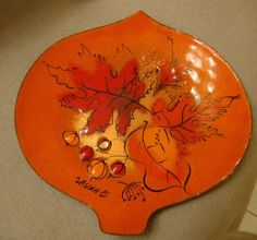 Sascha Brastoff Mid Century Orange enameled on Copper leaf dish from orangepawnshop on Ruby Lane