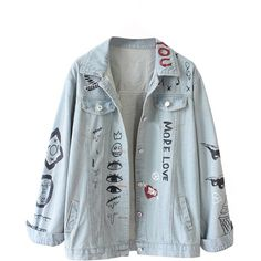 Choies Women Blue Letter Patches Jeans Coat Outwear Boyfriend Wash... ($25) ❤ liked on Polyvore featuring outerwear, coats, jean jacket and denim jacket