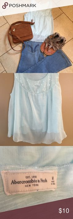 Abercrombie & Fitch tank top Abercrombie & Fitch tank top, pale blue with sequins, size medium, comes from a smoke free home. Abercrombie & Fitch Tops Tank Tops