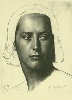 Head of a Girl (Anaïs; Melisande; Head of a Basque) | 1944 | Fletcher Lithograph 2 | Zinc plate iii/iii | 11 3/8 x 9 3/16 (sheet 16 1/4 x 12 13/16) | Edition 25 | A fine impression printed on cream wove paper | This is a portrait of the artist's first wife, Anaïs.