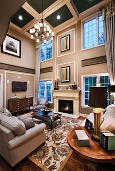 Large living room with two story windows gorgeous - High ceiling wall decor ...
