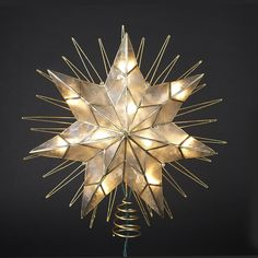 7 POINT NATURAL #CAPIZ #STAR LIGHTED #TREETOPPER WITH WIRE RAYS ACCENT, GOLD PLATED IN GOLD GLITTERED FINISH, 4 SPARE BULBS AND 2 REPLACEMENT FUSES - INDOOR USE ONLY # UL3065
