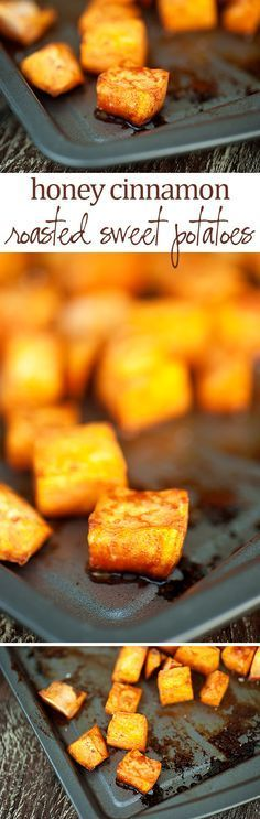 These sweet potatoes are roasted in the oven with a mixture of honey and cinnamon for a delicious Thanksgiving side  dish.